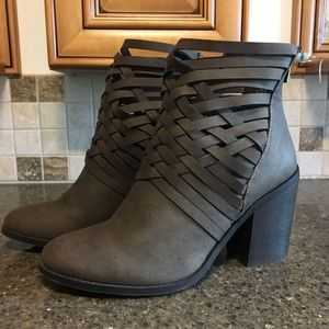 Faux Brown Leather Ankle Boot with Zipper